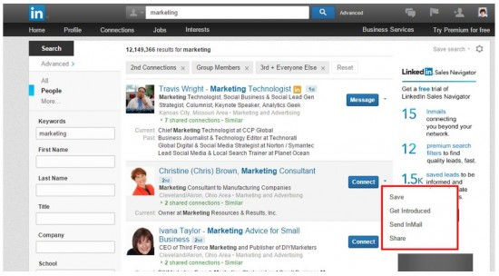 Take action on your LinkedIn search results.